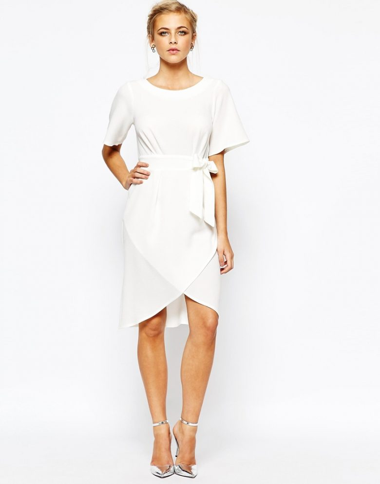 short simple scoop neck wedding dress with sleeves for the wedding dresses under $500 roundup
