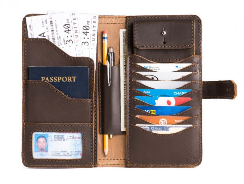 leather travel wallet with passport pocket