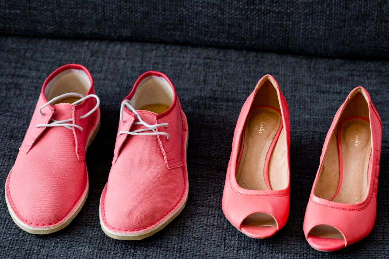 pink bride and groom wedding shoes