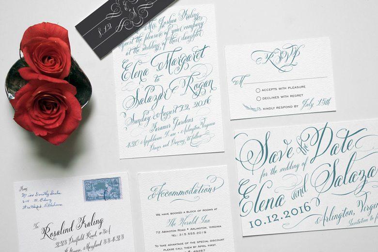 wedding invitation suite featuring roses