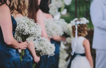 bridesmaids and flower girl standing at wedding