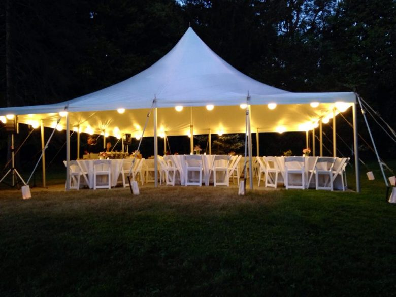 Open sided wedding tent at night