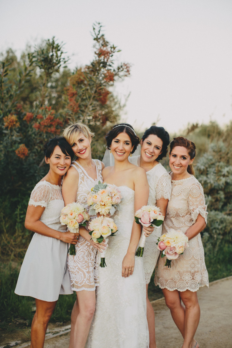 Bridesmaid dresses pick color of balcony
