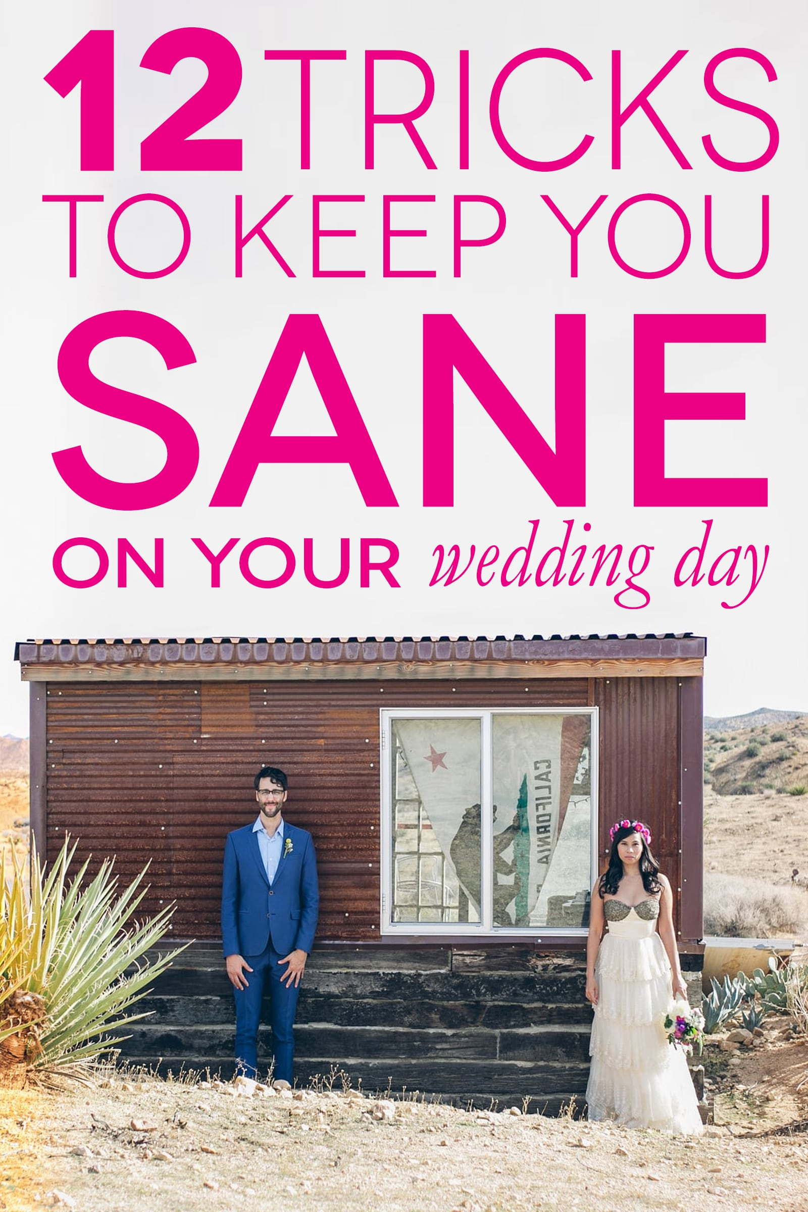 Wedding coordinator tricks to keep you sane on your wedding day - a couple stands outside a shack.