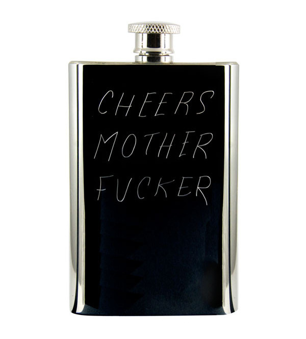 "the sarcastic anniversary gift: a custom engraved flask with words ""Cheers Mother Fucker"""