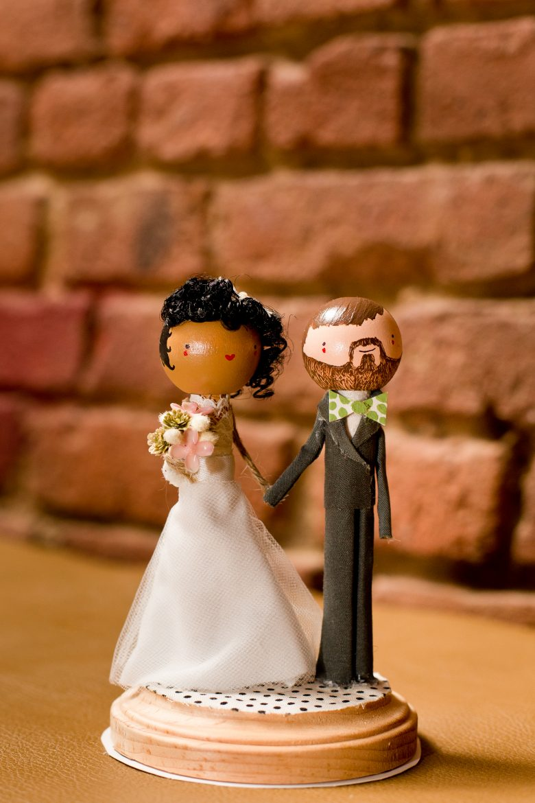 wooden interracial cake topper
