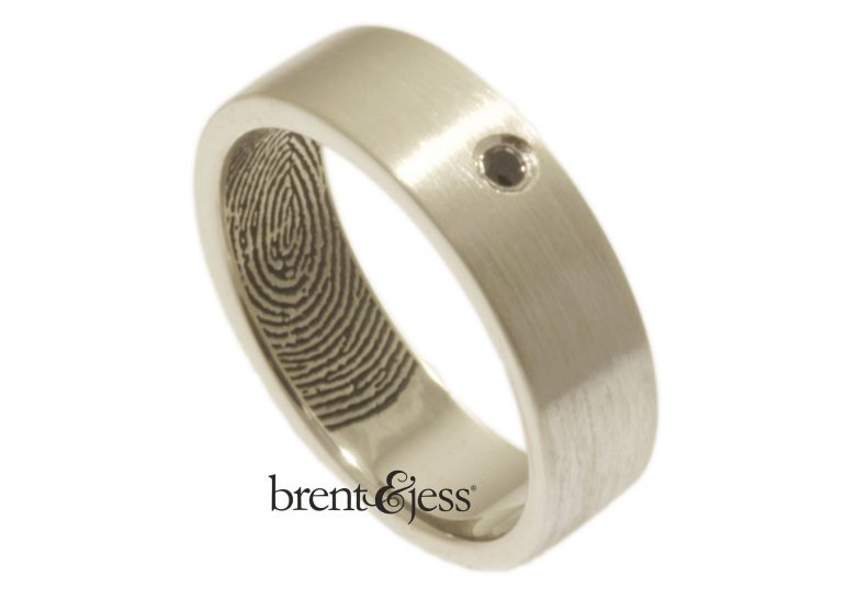 Personalized handmade fingerprint wedding bands from Brent&Jess