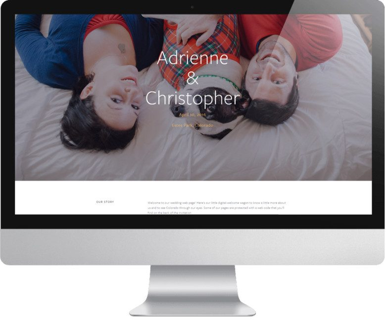 squarespace wedding website featuring a couple lying on a bed with their dog