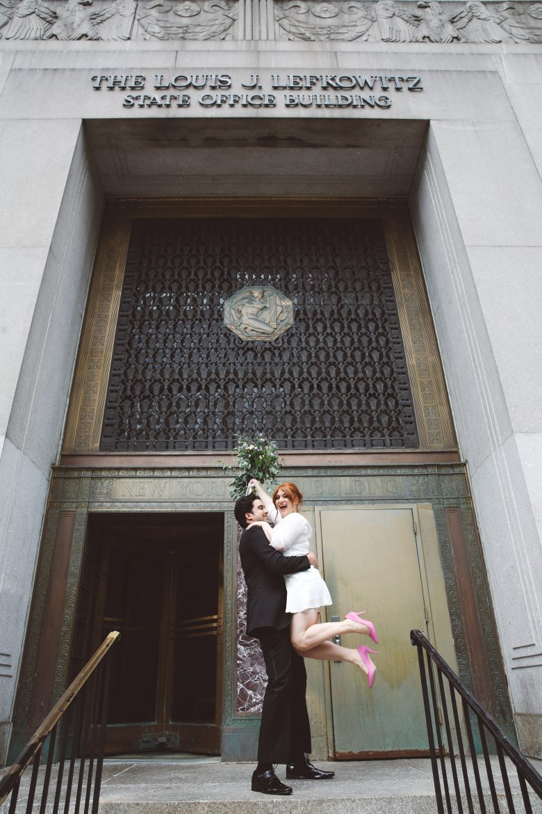 bride and groom after courthouse wedding