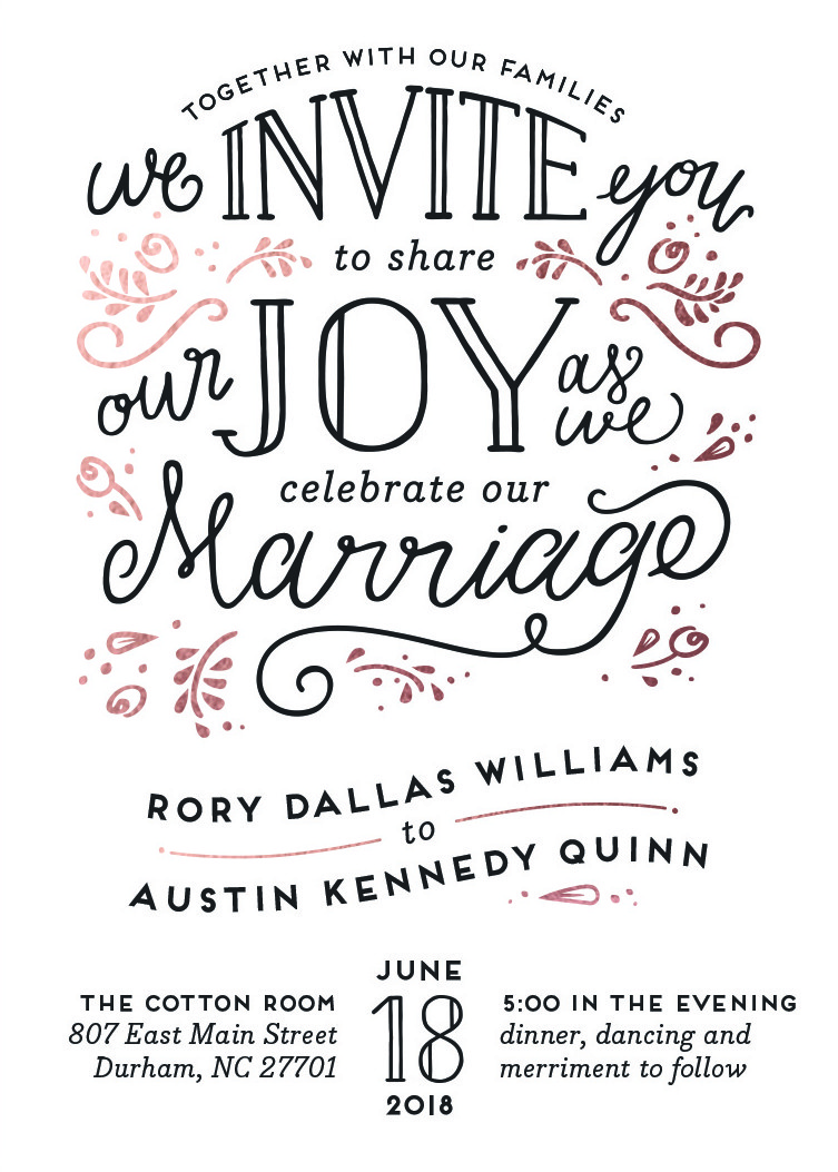 joyful wedding invitation by minted