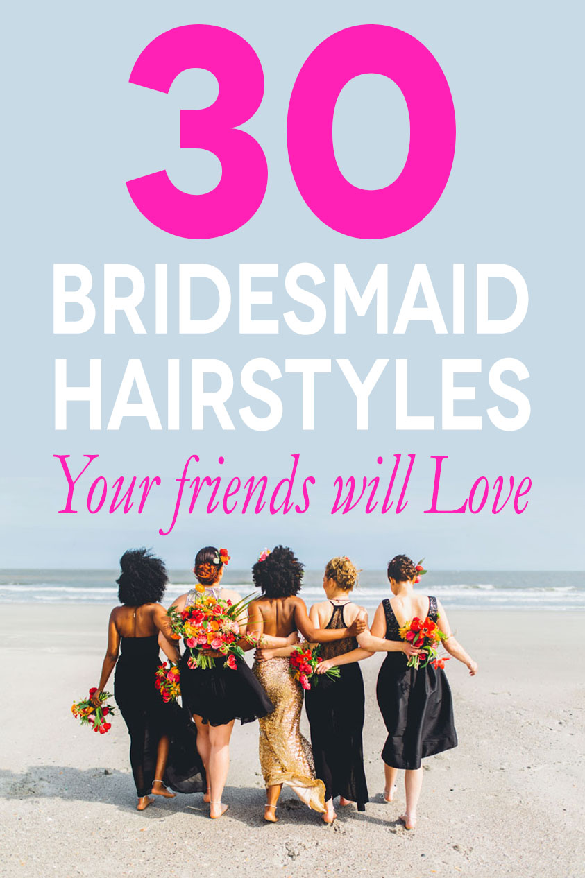 Women walking on the beach with text above saying 30 bridesmaid styles your friends will love