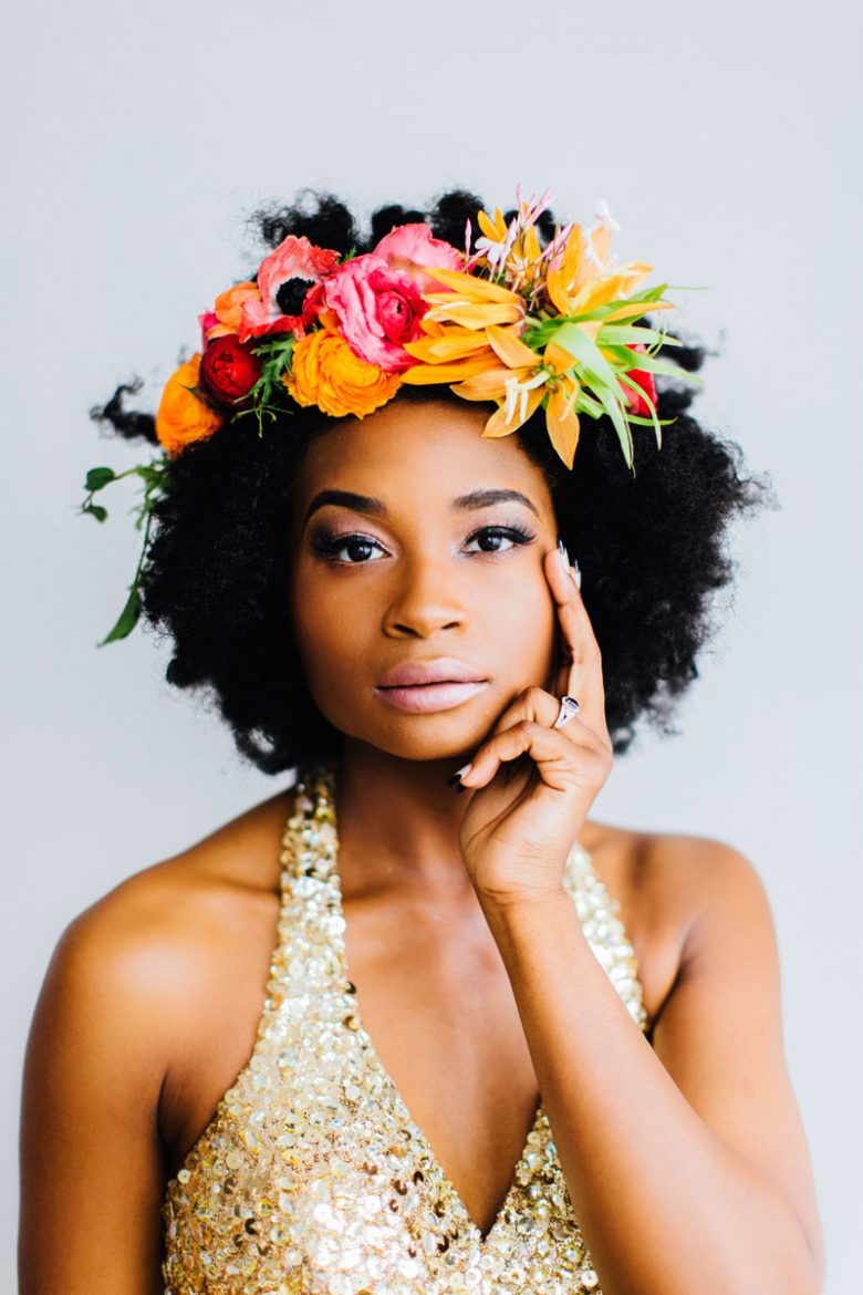 natural afro bridesmaid with floral crown