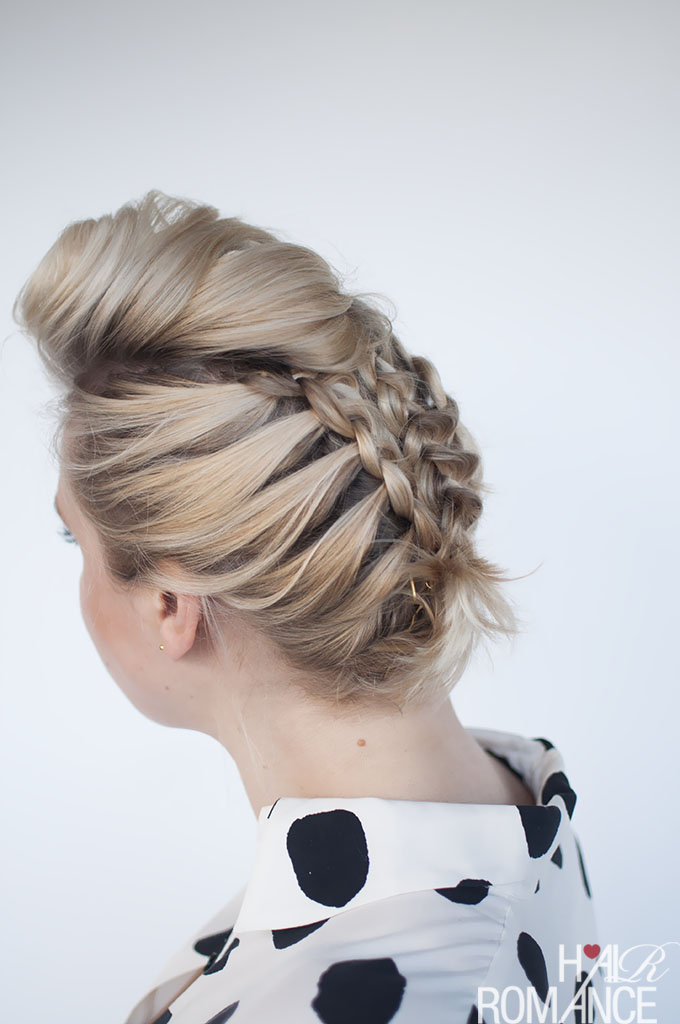 braided updo for short or medium hair