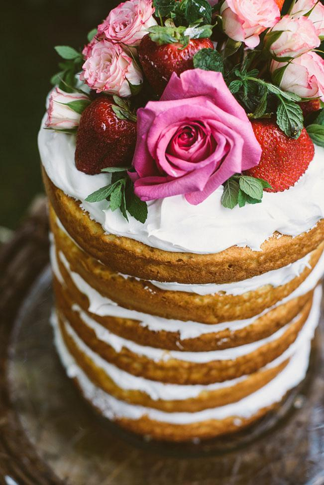 bohemian cake with flowers and strawberries