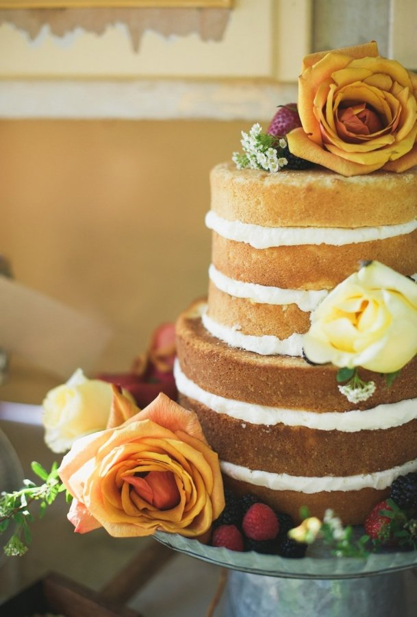 cake with yellow and orange flowers