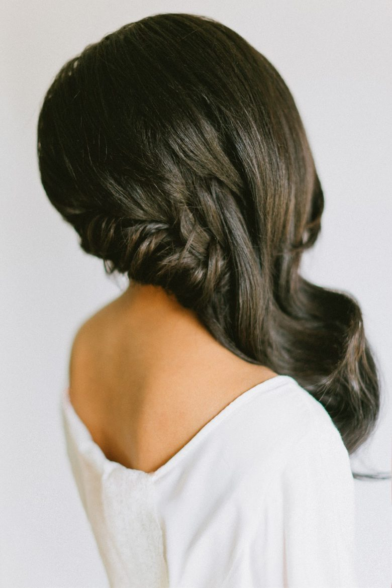 braided wave bridesmaid hairstyle