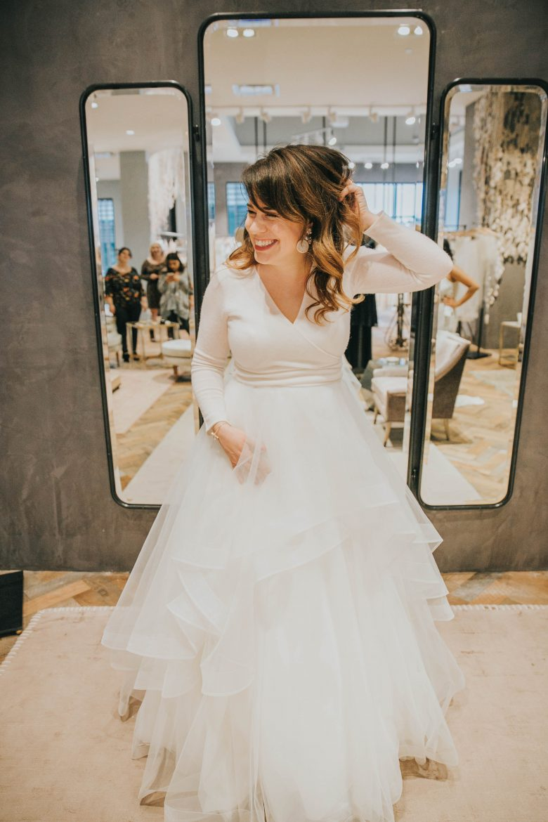 bride wearing BHLDN separates
