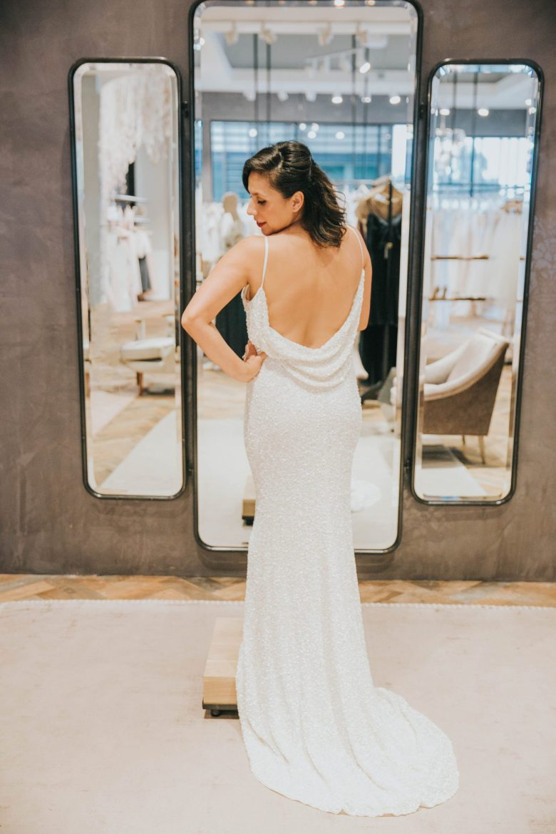 Bride wearing BHLDN Natalia gown in Palo Alto Salon