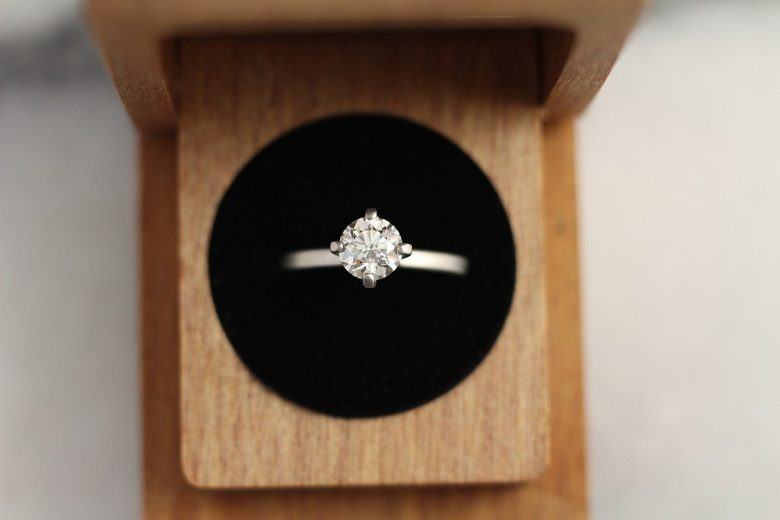 Overhead view of an engagement ring from Ash Hilton