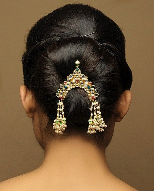 easy updo low bun with hair jewlery