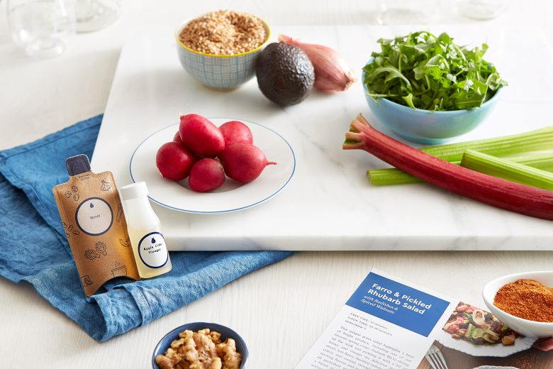meal prep ingredients and tools from blue apron