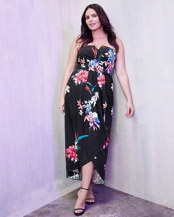 black floral wedding dress