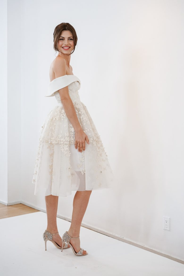 short off shoulder wedding gown from BHLDN