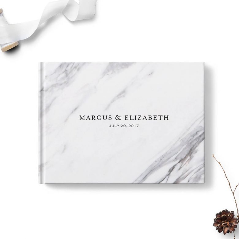 marble print guest book