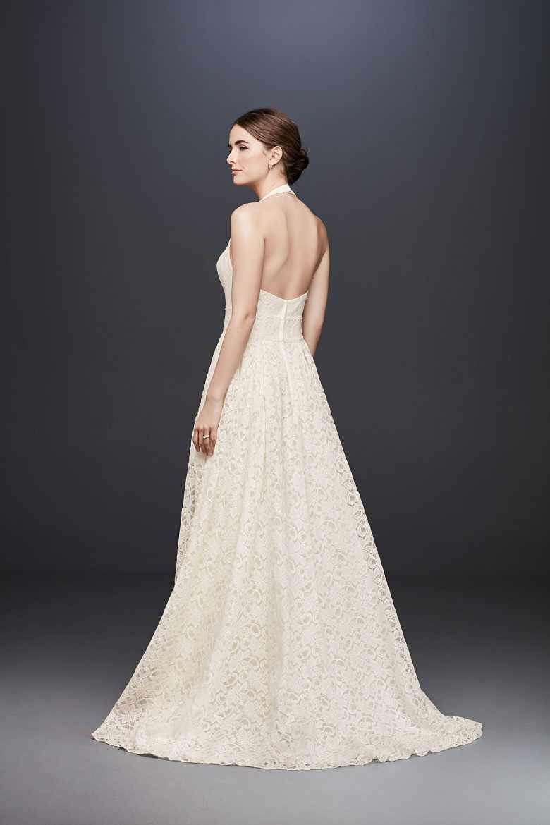 Plunging Lace Halter Ball Gown Wedding Dress, from behind