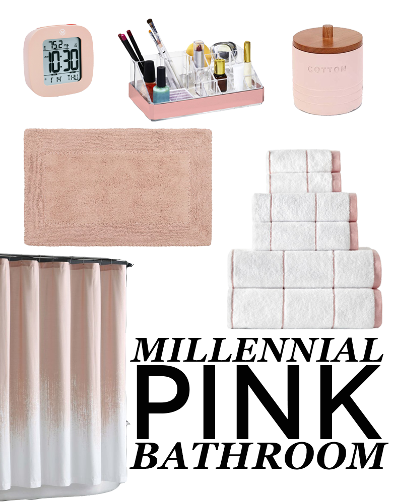 "graphic with words ""millennial pink bathroom"" showing millennial pink bathroom items for wedding registry"
