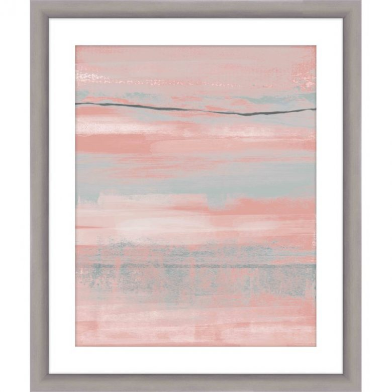 watercolor-inspired millennial pink and gray brushstroke print in a light gray wood frame with white mat border