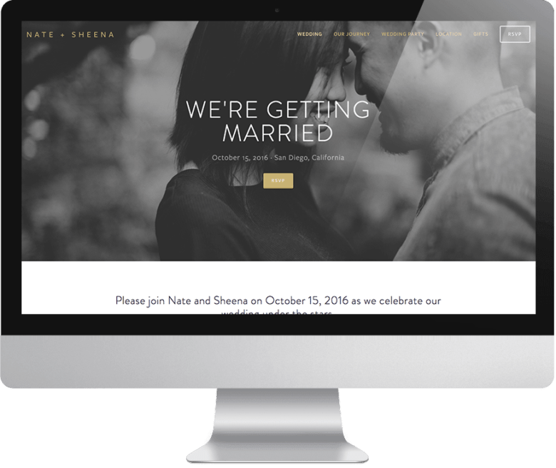 "Nate + Sheena's wedding website with black and white photo of smiling couple with their heads together with text overlay ""we're getting married"" on a computer monitor"