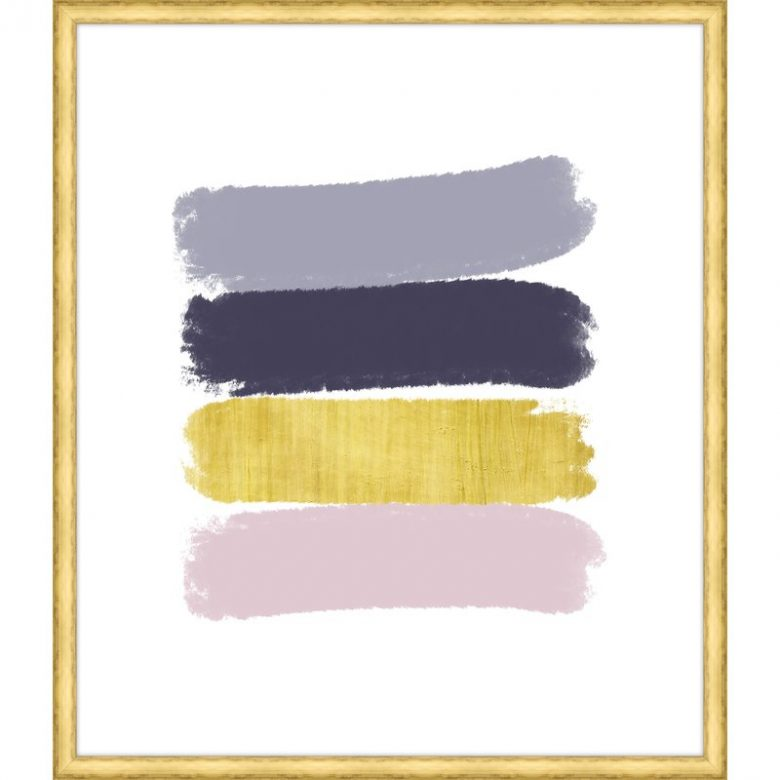 thin gold framed print featuring 4 thick brushstrokes in gray, navy, gold, and millennial pink on a white background