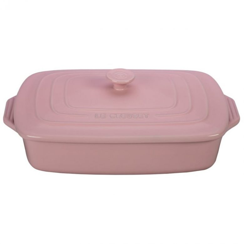 millennial pink rectangle Le Creuset stoneware baking dish with lid