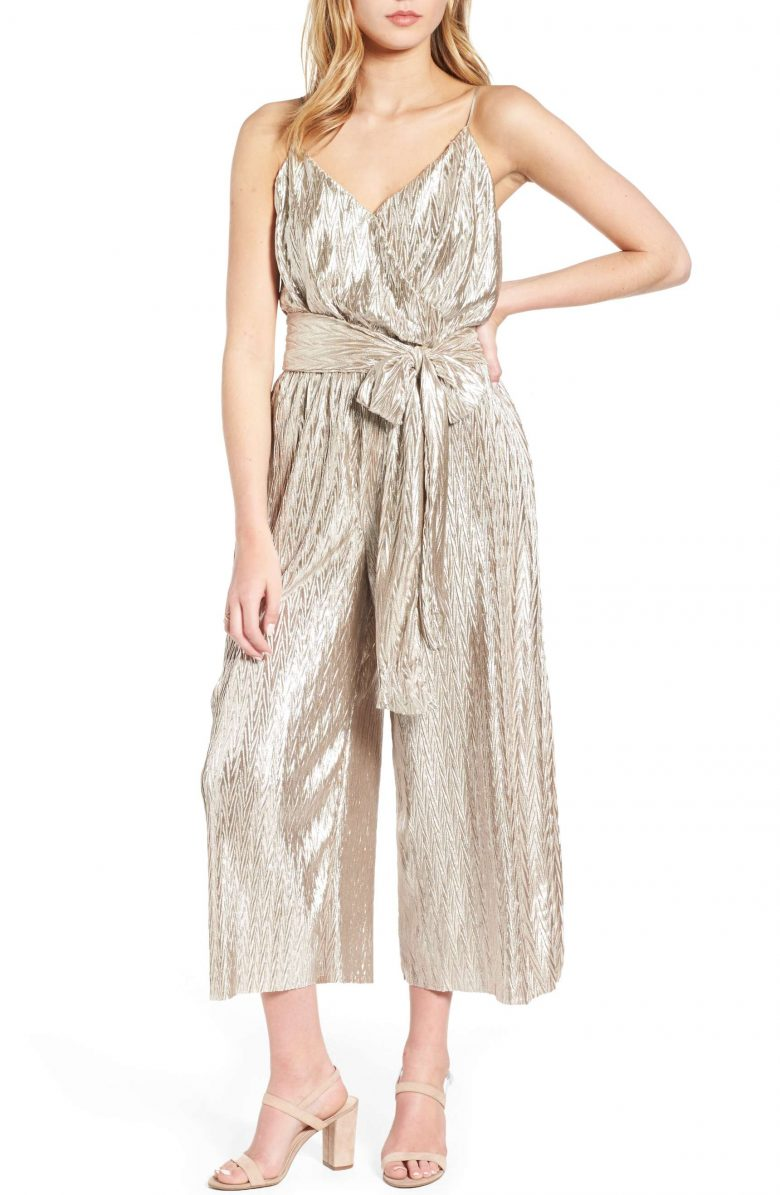 metallic gold tie waist strappy bridesmaid formal jumpsuit