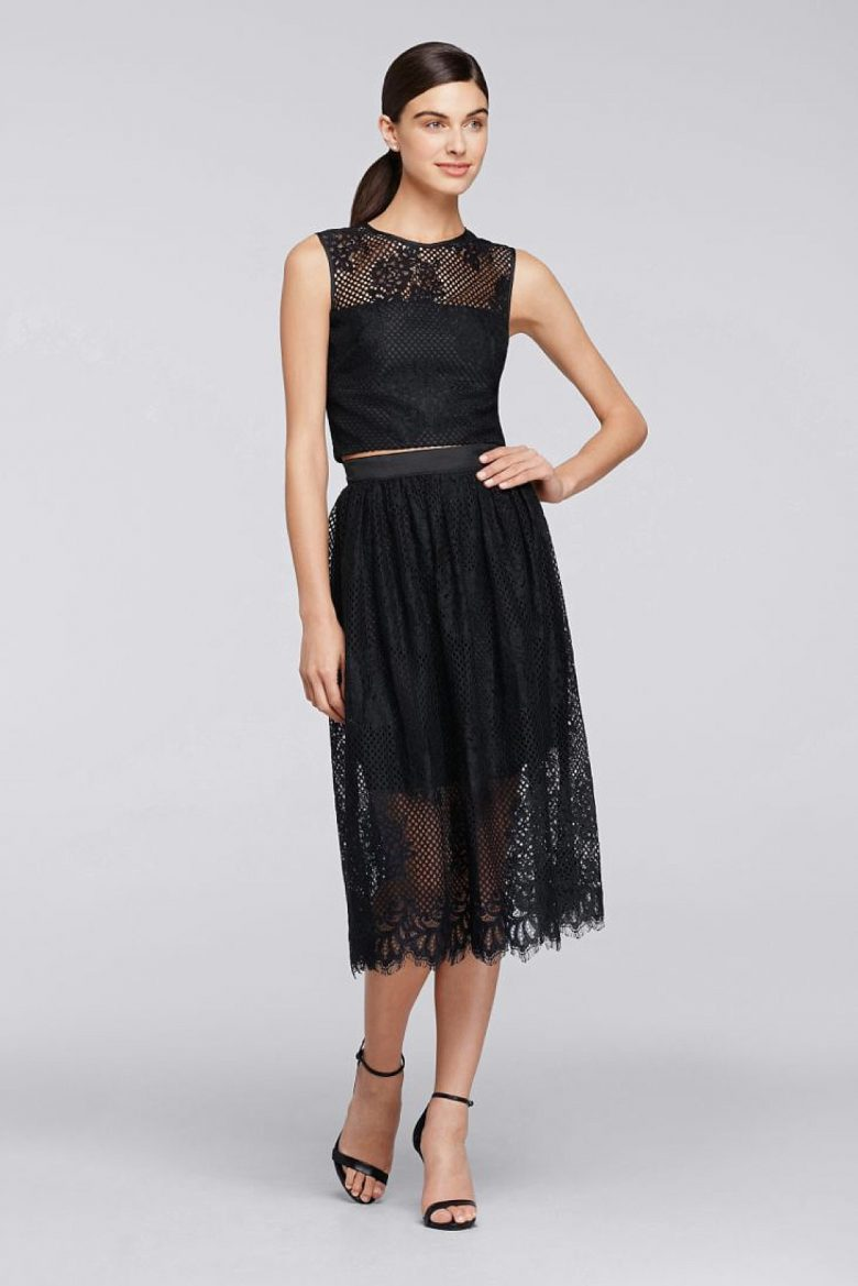 Two Piece Sleeveless Lace Top with Full Skirt