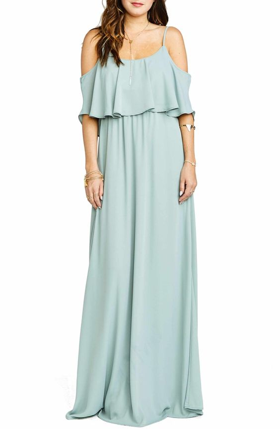 mint Caitlin Cold Shoulder Chiffon Gown