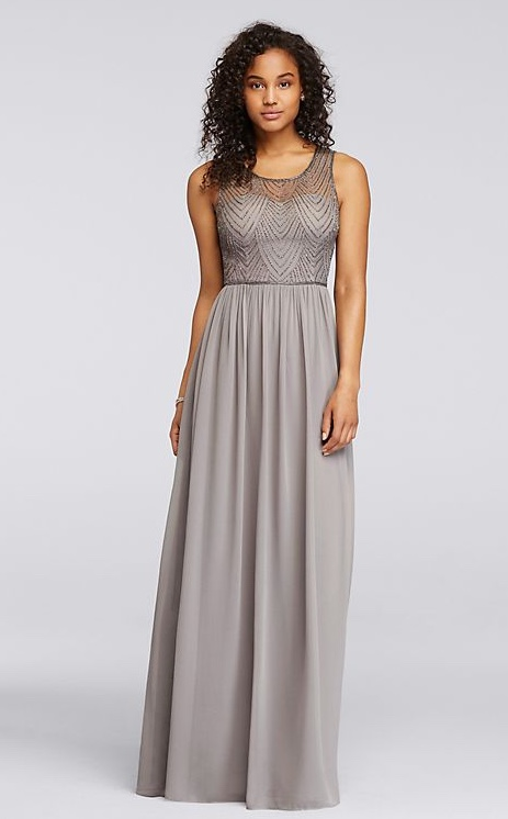 light grey Long Dress with Illusion Sweetheart Beaded Bodice