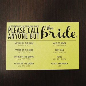 Don't call the bride card