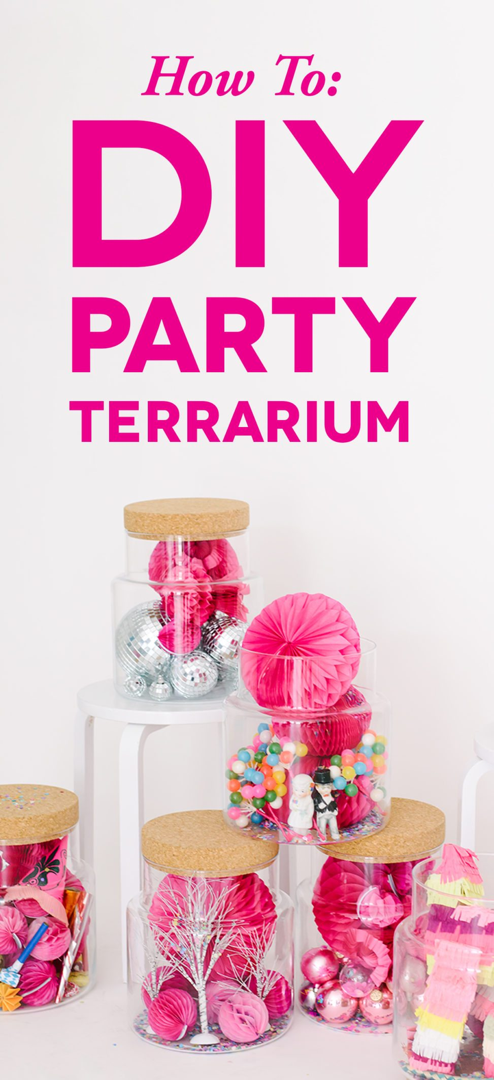 wedding party terrarium with pink and yellow mini pinatas