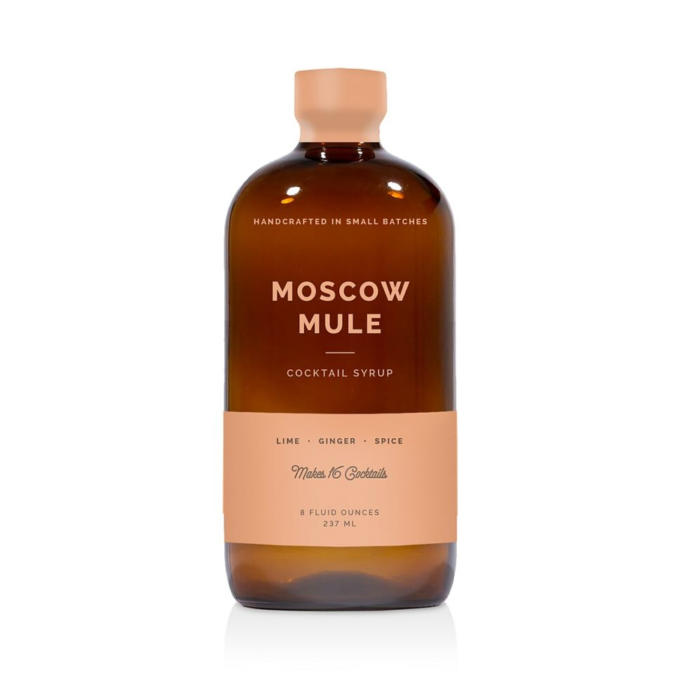 Bottle of Moscow Mule cocktail syrup on white