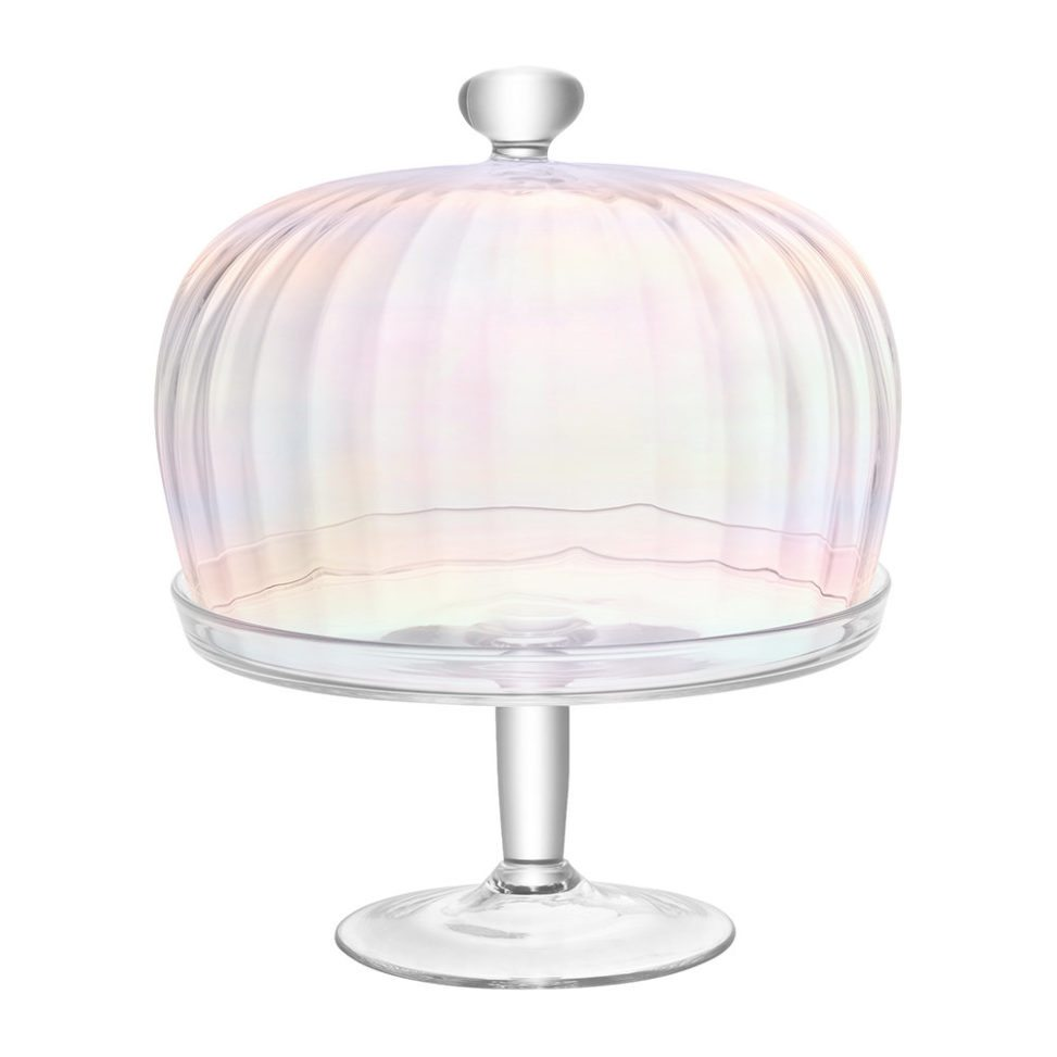 Pearlescent cake stand on white background