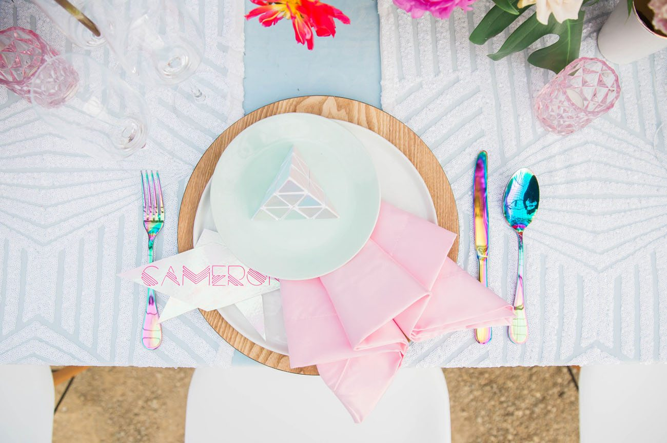 holographic and pastel 80s tablescape
