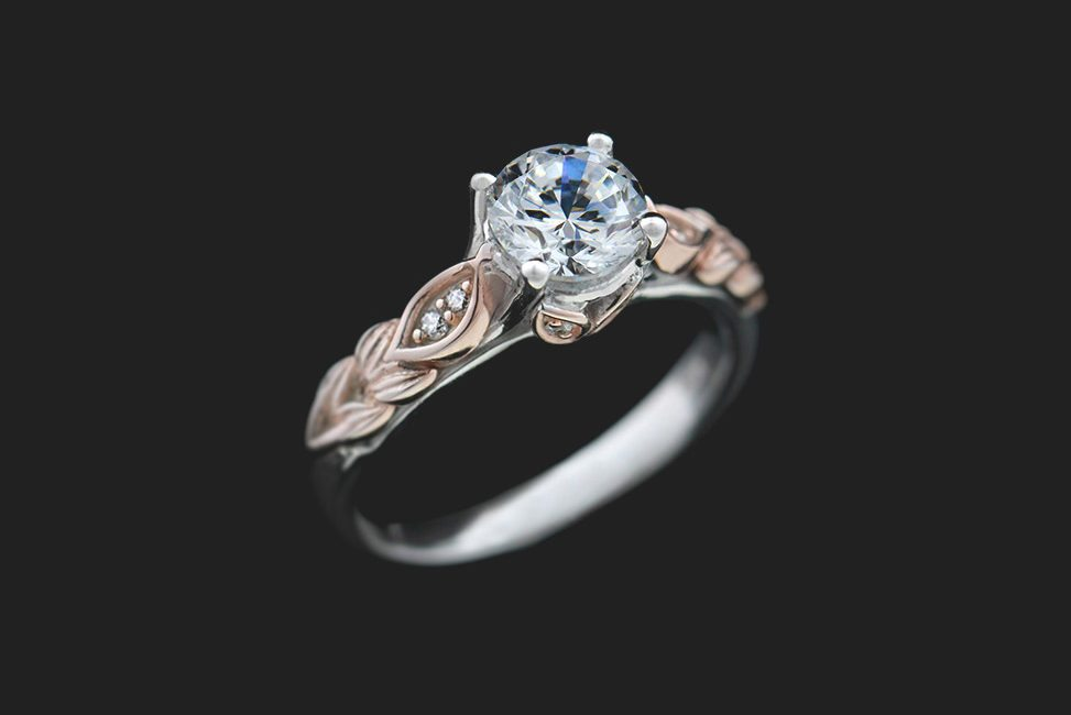ethical two tone diamond engagement ring