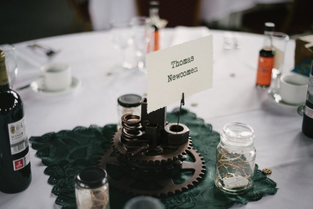 gears as a centerpiece on a table