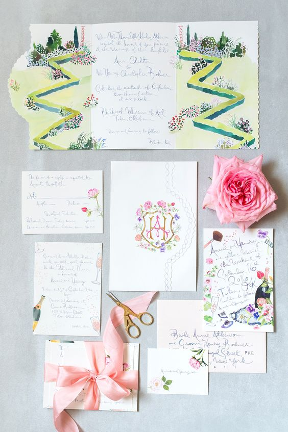 watercolor designed stationary