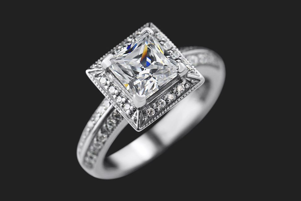 square cut diamond engagement ring with halo setting