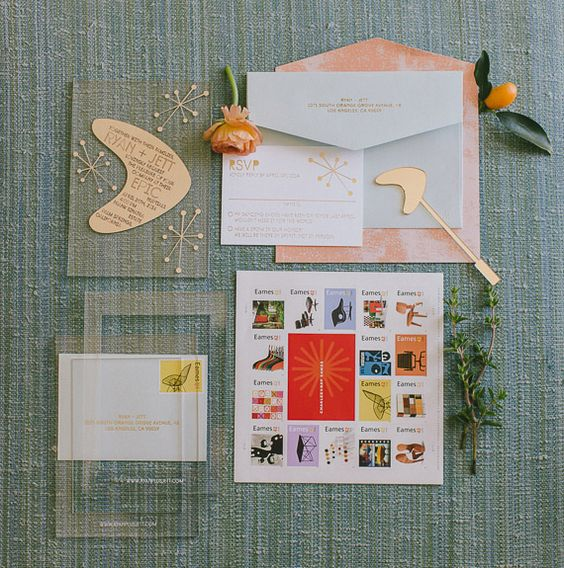 retro wedding stationary