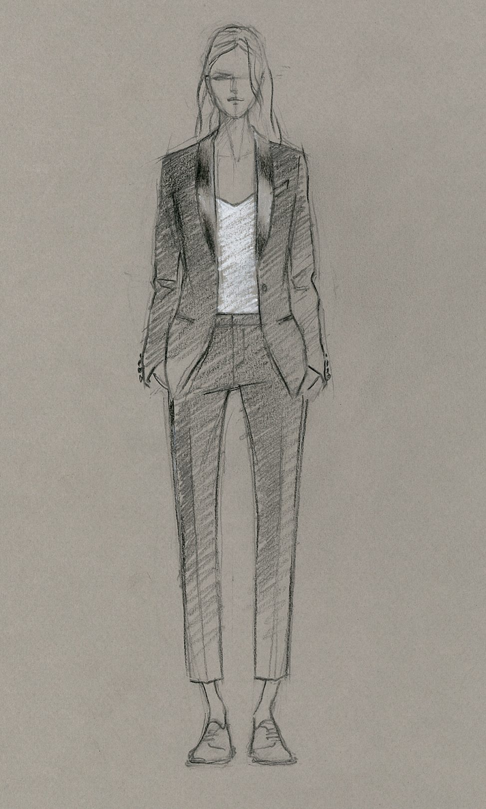 A dark pencil drawing of a woman in a black tuxedo suit