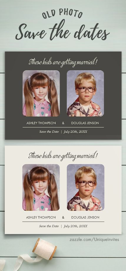 bride and groom as children on a save the date